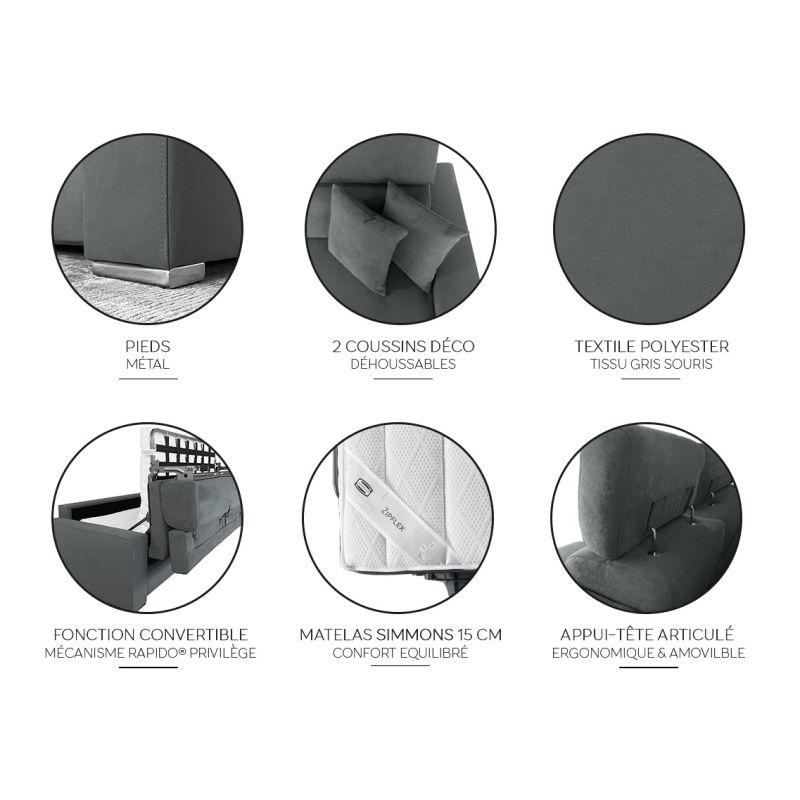 Canapé d'Angle Convertible Xéna+